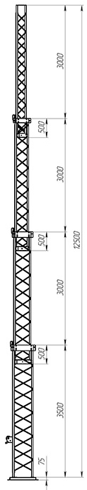 Steel crank-up self-supporting towers CT-S3-4X-3500