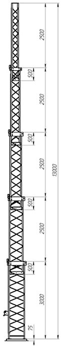 Steel crank-up self-supporting towers CT-S3-5Х-3000