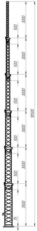 Steel crank-up self-supporting towers CT-S3-6-3500