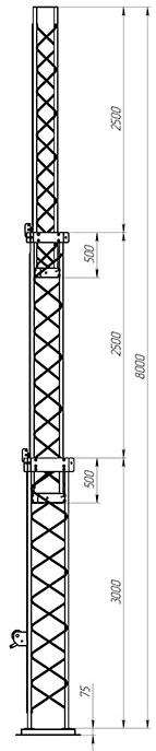 Steel crank-up self-supporting towers CT-S3-3Х-3000