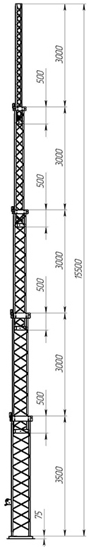 Steel crank-up self-supporting towers CT-S3-5-3500
