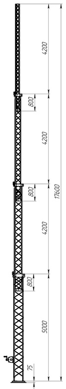 Steel crank-up self-supporting towers CT-S3-4-5000