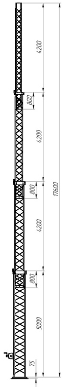 Steel crank-up self-supporting towers CT-S3-4Х-5000