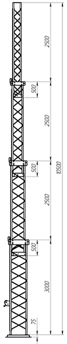 Steel crank-up self-supporting towers CT-S3-4Х-3000