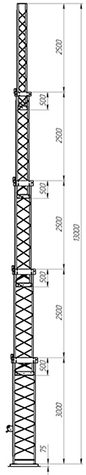 Steel crank-up self-supporting towers CT-S3-5X-3500